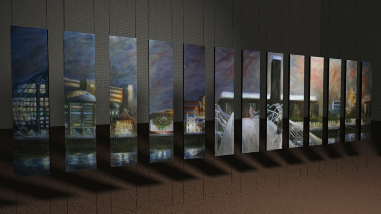 Mid View (LbI) - 28 panels - Oil on canvas