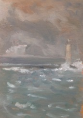 "Beyond The Breakwater - 6x8"" - Oil on panel"