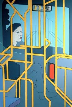 """Blue Bus - 62x42"""" - Acrylic on canvas"""