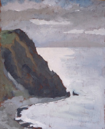 "Borth Cliffs - 10x12"" - Oil on panel"