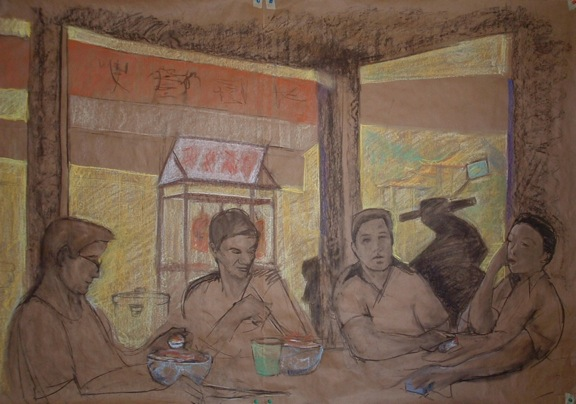 "Breakfast Restaurant 1 - 36x48"" - Pastel, chalk and charcoal on paper"