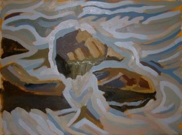 """Dyfi Rocks 5 - 45x62"""" - Oil on canvas"""