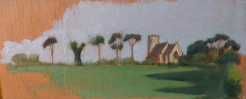 "Hillside Church - 5x12"" - Oil on panel."
