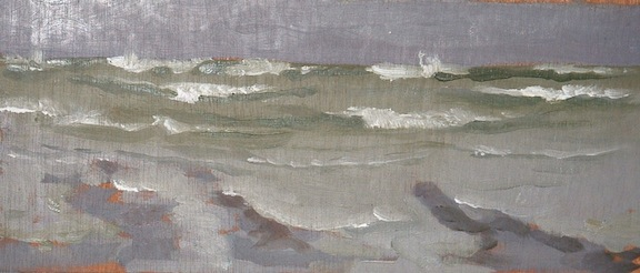 "Incoming Waves - 5x12"" - Oil on panel."