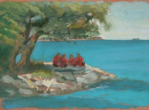 "Lunchtime Break - 6x8"" - Oil on panel"