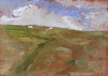 "Mach Sheep - 6x8"" - Oil on panel"