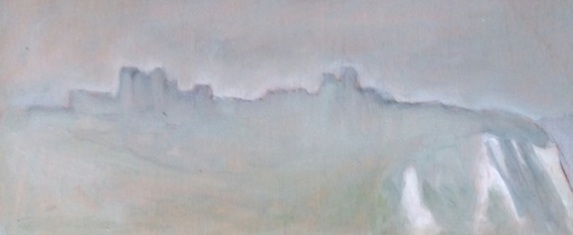 "Misty Dover Castle - 5x12"" - Oil on panel."