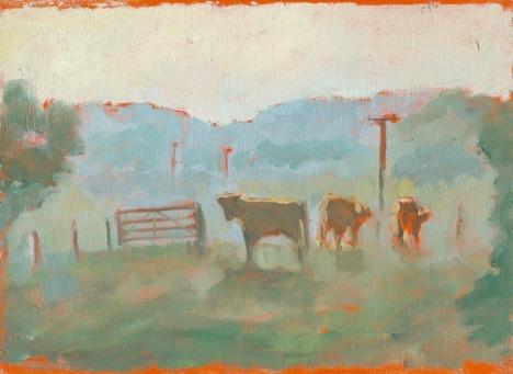 "Orange Bulls - 6x8"" - Oil on panel"