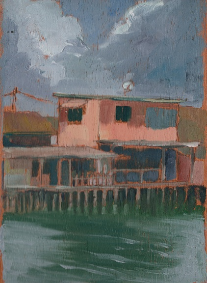 "Pink House - 6x8"" - Oil on panel"