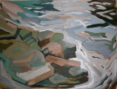"""Dyfi Rocks 2 - 46x62"""" - Oil on canvas"""