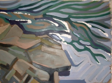 """Dyfi Rocks3 - 45x62"""" - Oil on canvas"""