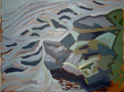 """Dyfi Rocks 4 - 45x62"""" - Oil on canvas"""