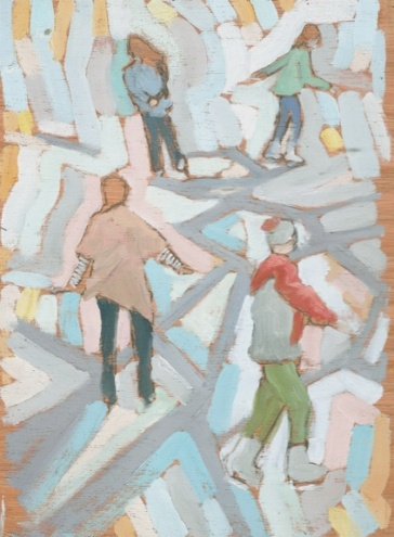 "Skaters - 6x8"" - Oil on panel"