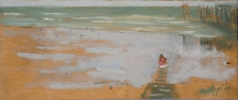 """Red Flag/Summer Holiday 2/2 - 5x12"""" - Oil on panel"""