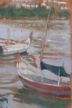 "TGB Boats - 6x8"" - Oil on panel"
