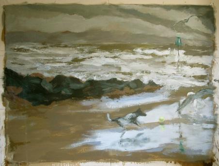 "Tywyn Beach - 46x62"" - Oil on canvas"