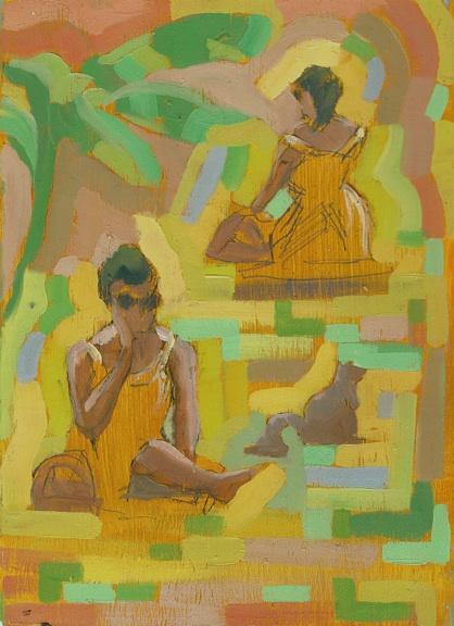 "Yellow Girl - 6x8"" - Oil on panel"