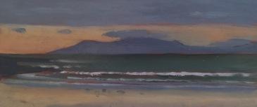 """Streedagh Beach, Sligo (5x12"""") Oil on panel -2016"""